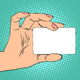 事务或信用卡在女性手上 向量例证