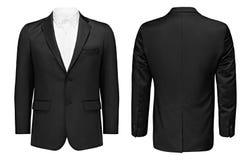 事务或经典黑夹克和白色衬衣,前面和后面看法,隔绝了与裁减路线的白色背景 免版税库存图片