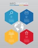 事务的现代信息图表模板与四步多色设计,标签设计,传染媒介信息图表元素,平的猪圈 库存照片