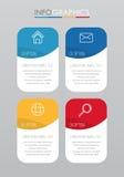 事务的现代信息图表模板与四步多色设计,标签设计,传染媒介信息图表元素,平的猪圈 图库摄影