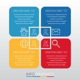 事务的现代信息图表模板与四步多色设计,标签设计,传染媒介信息图表元素,平的猪圈 免版税库存照片