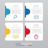 事务的现代信息图表模板与四步多色设计,标签设计,传染媒介信息图表元素,平的猪圈 免版税库存图片