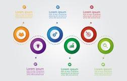 事务的Infographic模板与6个选择,企业数据 库存例证