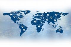 事务社会媒介和个人标志在世界地图 免版税库存图片