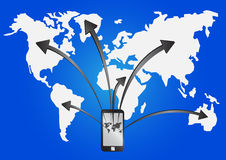 事务连接到世界通行证手机 库存图片
