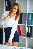 事务 女商人画象有红色头发的 15个妇女年轻人 库存图片