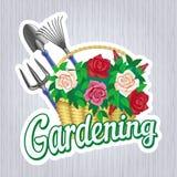 从事园艺与玫瑰篮子的标志  库存照片