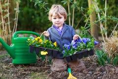 从事园艺和种植花的小男孩在庭院里 免版税库存图片