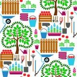 从事园艺的例证模式无缝的春天向量工作 免版税库存照片