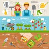 从事园艺的农夫被设置的3副平的横幅 向量例证