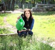 从事园艺的妇女给一棵草喝水 库存图片