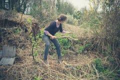 从事园艺的妇女年轻人 库存图片