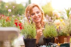 从事园艺的愉快的妇女 免版税库存图片