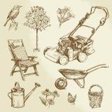 从事园艺的收藏 免版税库存照片