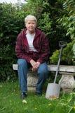 从事园艺的高级妇女 免版税图库摄影
