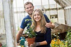 从事园艺自温室的逗人喜爱的夫妇 免版税库存图片