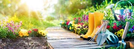 从事园艺-套为花匠和花盆的工具 图库摄影