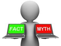 事实神话膝上型计算机展示事实或神话 免版税库存图片