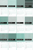 从事恐怖活动的秘密组织成员和surfie绿色上色了几何样式日历2016年 免版税库存照片