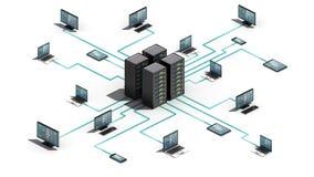 事技术互联网连接服务器系统 IoT, 3D维度视图 皇族释放例证