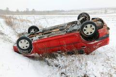 事故汽车冬天 库存照片