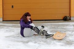 事故风险,当清除雪时 图库摄影