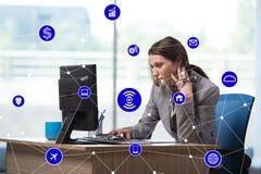 事概念互联网与女实业家的 免版税图库摄影