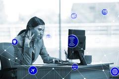 事概念互联网与女实业家的 向量例证