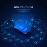 事概念互联网  IOT等量横幅 数字全球性生态系 由智能手机的监控聪明的系统 库存例证