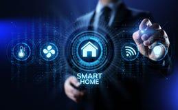 事概念聪明的家庭生活自动化IOT互联网在屏幕上的 免版税图库摄影