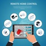 事概念聪明的议院和互联网  智能手机控制象巧妙的插座,冰箱咖啡壶洗衣机的聪明的家 库存例证