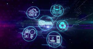 事概念IOT互联网与设备标志的 股票录像