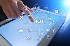 事,数字式变革和创新概念IOT互联网  聪明的技术 库存照片