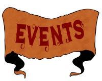 事件写与葡萄酒字体在动画片葡萄酒丝带 免版税库存图片