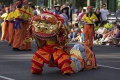金黄狮子舞蹈家 库存照片