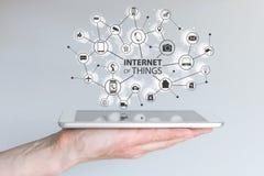 事(IOT)和移动计算机处理技术概念互联网  被连接的移动设备网络  免版税库存图片