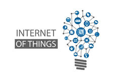 事(IOT)概念背景互联网  代表新的创新想法的传染媒介例证 免版税库存照片