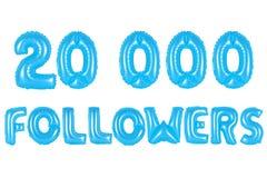 二万个追随者,蓝色颜色 免版税图库摄影