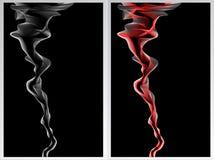 二与烟红色和白色的抽象背景 免版税库存图片