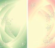 二与花的抽象背景 免版税库存图片