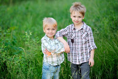 二个兄弟纵向  库存照片