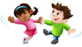 二个动画片舞蹈演员跳舞 免版税库存图片