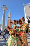 二个参加者在威尼斯式狂欢节。 免版税库存照片