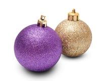 二个圣诞节球 免版税库存图片