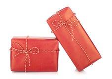 二个圣诞节礼物盒 免版税库存照片