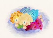 二个小的天使 额嘴装饰飞行例证图象其纸部分燕子水彩 免版税库存照片