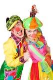 二个微笑的小丑 免版税库存照片