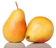 二个成熟红色黄色梨 免版税图库摄影