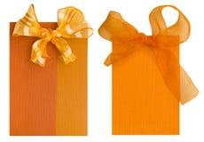 二个橙色标签 库存图片