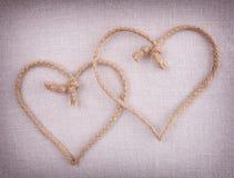 二个爱重点一起克服的由字符串制成 图库摄影